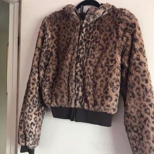 H&M faux cheetah print jacket
